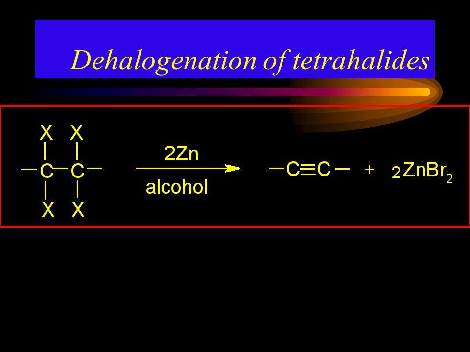 Dehalogenation of tetrahalides