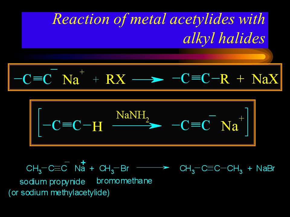 Reaction of metal acetylides with alkyl halides