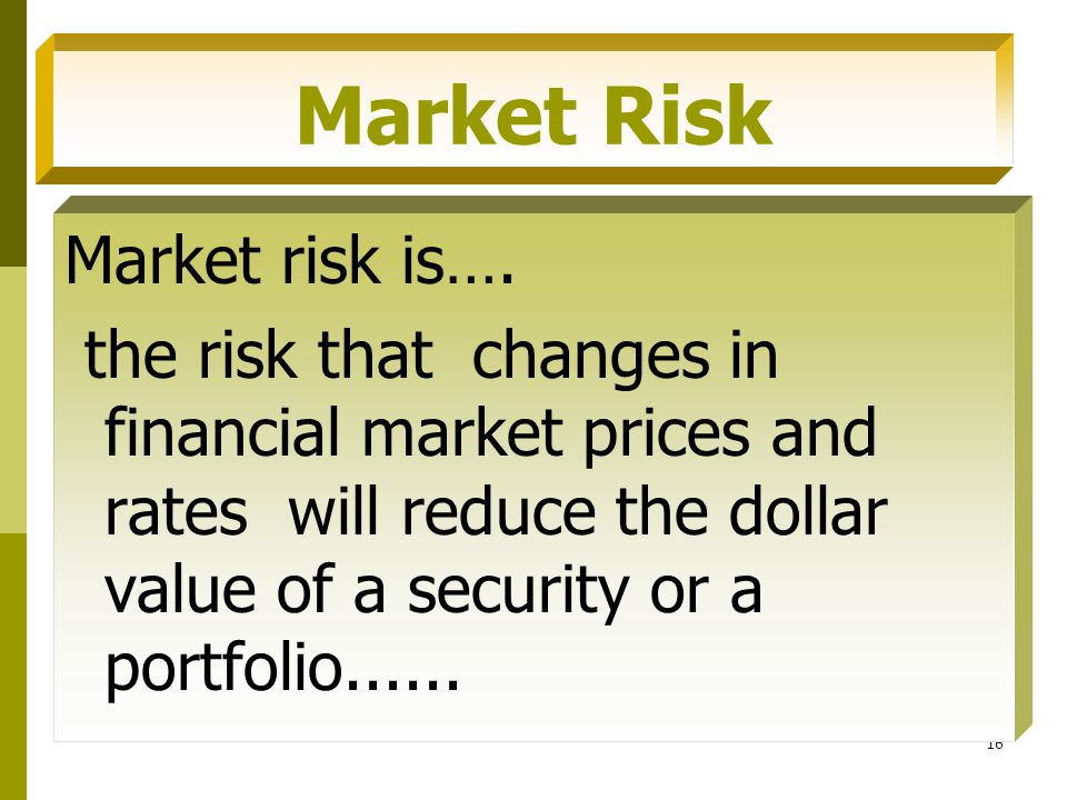 Market Risk Market risk is….