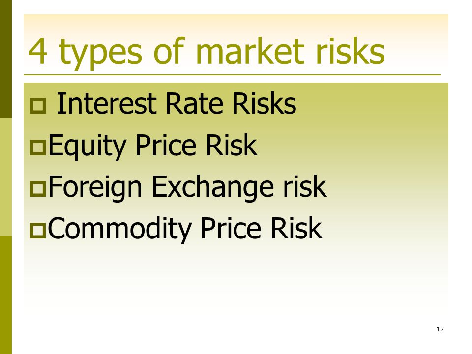 4 types of market risks Interest Rate Risks Equity Price Risk