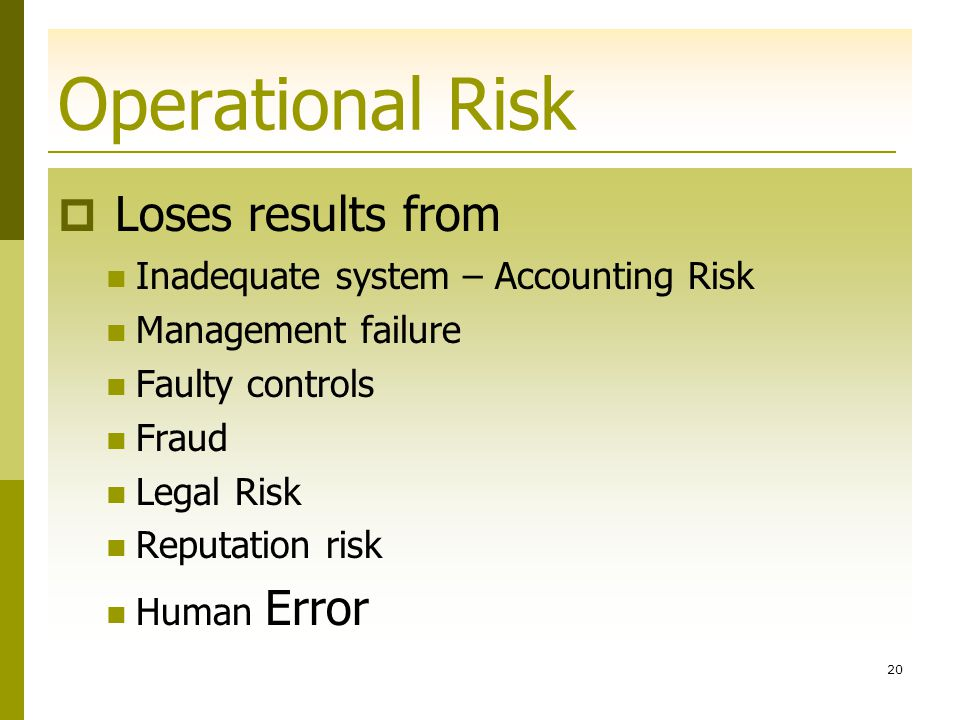 Operational Risk Loses results from