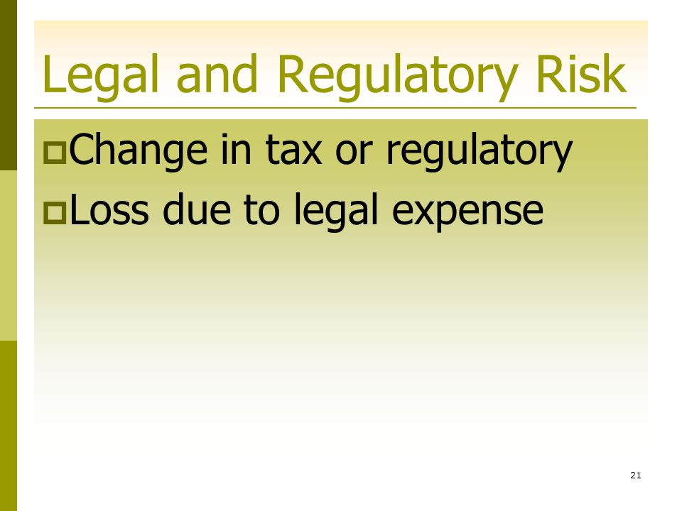 Legal and Regulatory Risk