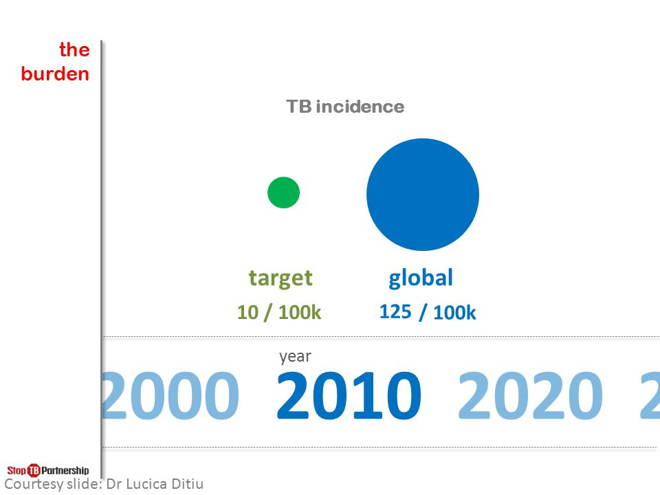 the burden. TB incidence. target. global. 10 / 100k. 125. 107. 92. 79. 68. 58. 50. 43. 37.