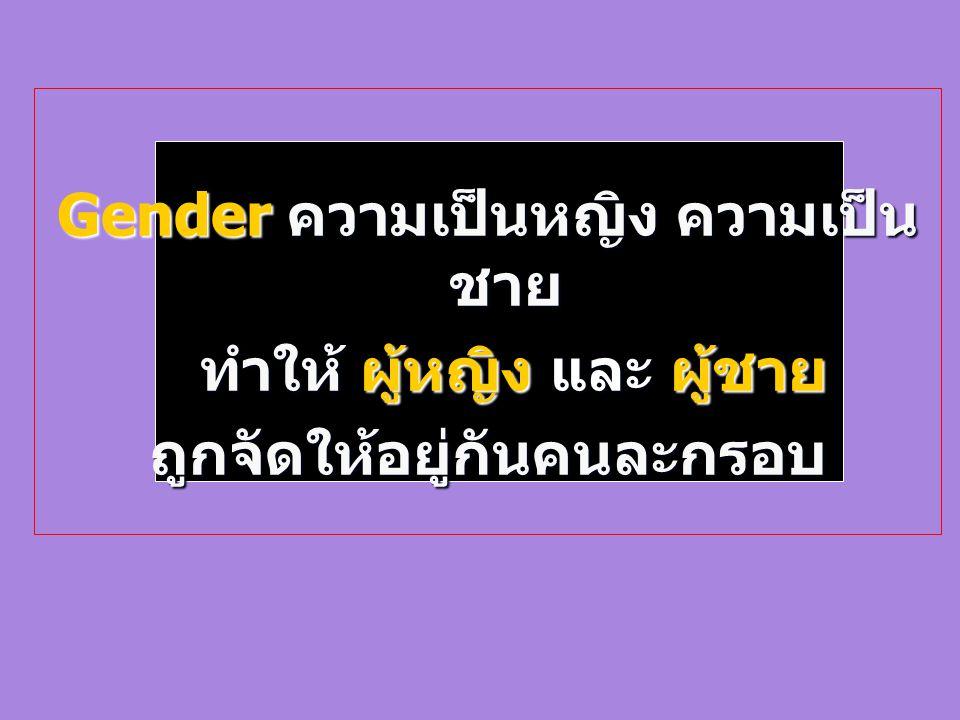 Gender ความเป็นหญิง ความเป็นชาย ทำให้ ผู้หญิง และ ผู้ชาย