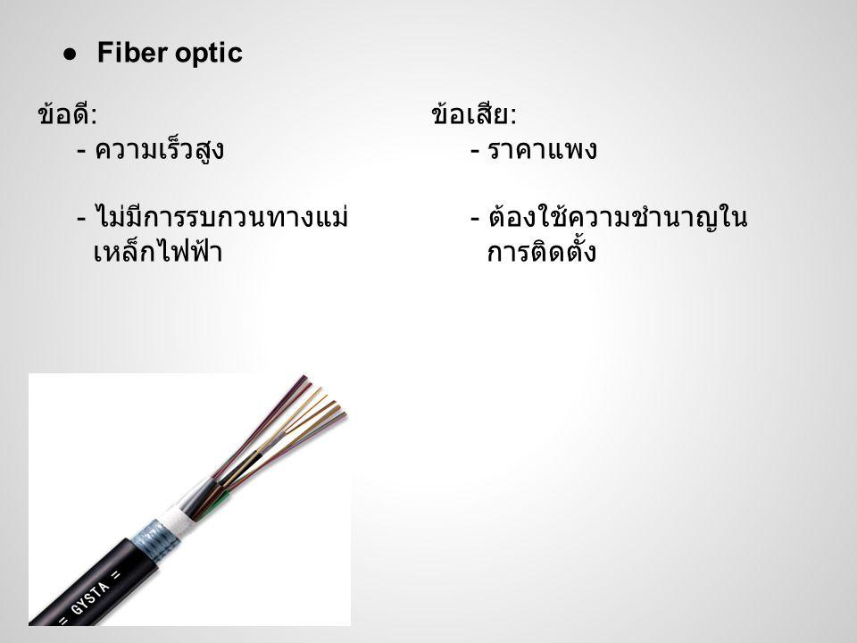 Fiber optic ข้อดี: - ความเร็วสูง. - ไม่มีการรบกวนทางแม่ เหล็กไฟฟ้า. ข้อเสีย: - ราคาแพง. - ต้องใช้ความชำนาญใน.