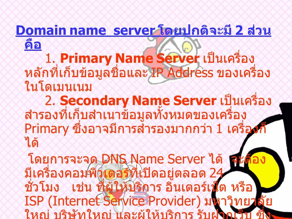 Domain name server โดยปกติจะมี 2 ส่วน คือ. 1