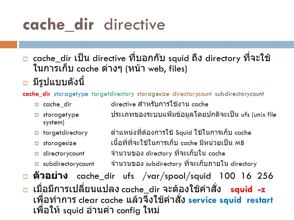 cache_dir directive cache_dir เป็น directive ที่บอกกับ squid ถึง directory ที่จะใช้ในการเก็บ cache ต่างๆ (หน้า web, files)
