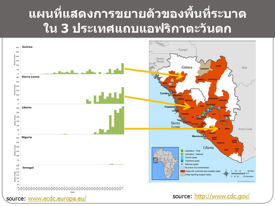 แผนที่แสดงการขยายตัวของพื้นที่ระบาด ใน 3 ประเทศแถบแอฟริกาตะวันตก