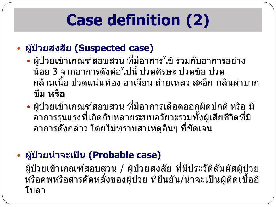Case definition (2) ผู้ป่วยสงสัย (Suspected case)
