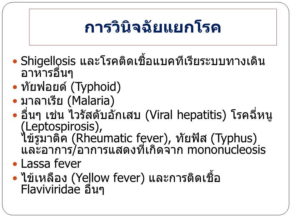 การวินิจฉัยแยกโรค Shigellosis และโรคติดเชื้อแบคทีเรียระบบทางเดิน อาหารอื่นๆ. ทัยฟอยด์ (Typhoid) มาลาเรีย (Malaria)