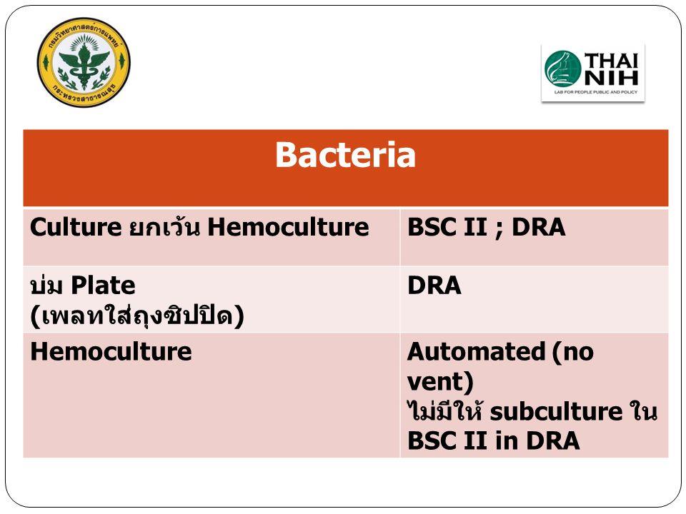Bacteria Culture ยกเว้น Hemoculture BSC II ; DRA บ่ม Plate