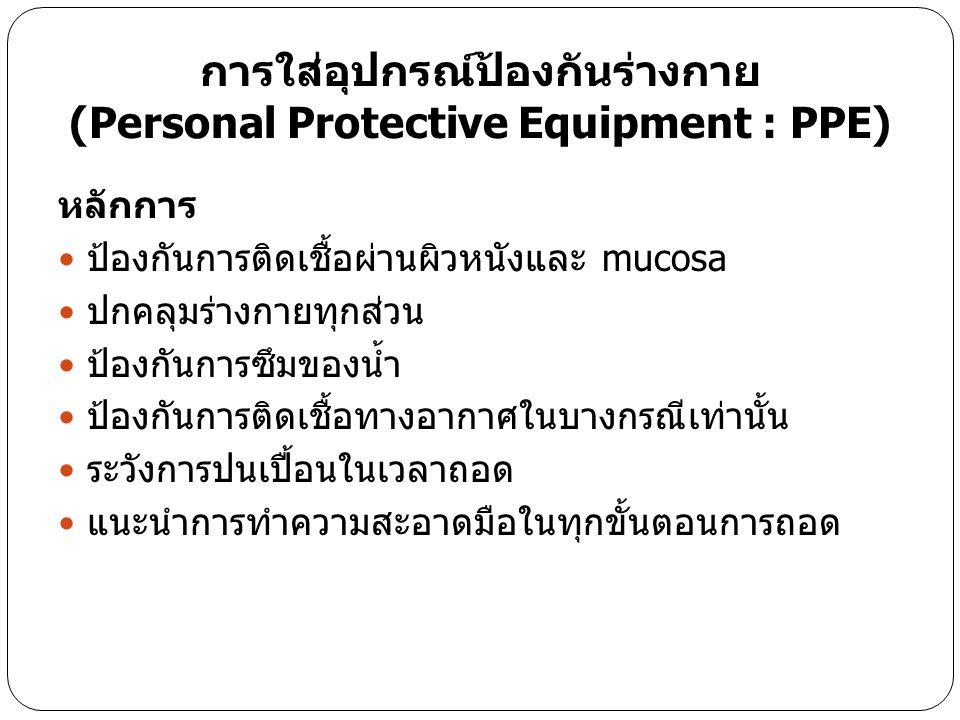 การใส่อุปกรณ์ป้องกันร่างกาย (Personal Protective Equipment : PPE)