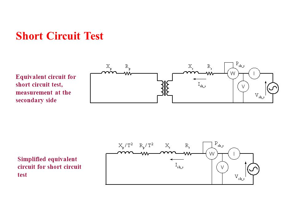 Short Circuit Test Equivalent circuit for short circuit test, measurement at the secondary side.