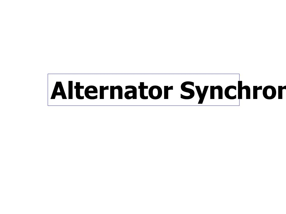 Alternator Synchronization