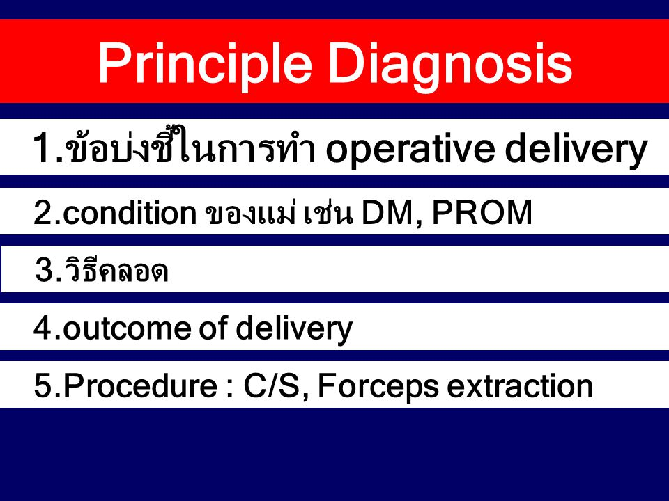 Principle Diagnosis 1.ข้อบ่งชี้ในการทำ operative delivery