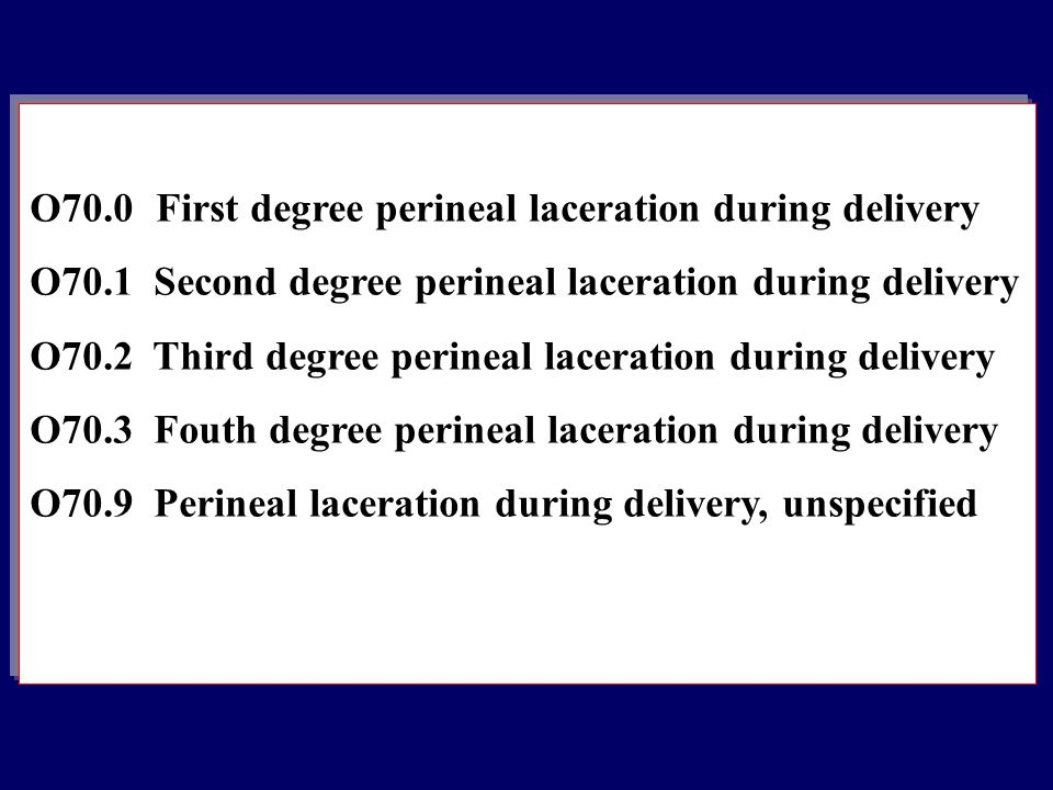 O70.0 First degree perineal laceration during delivery