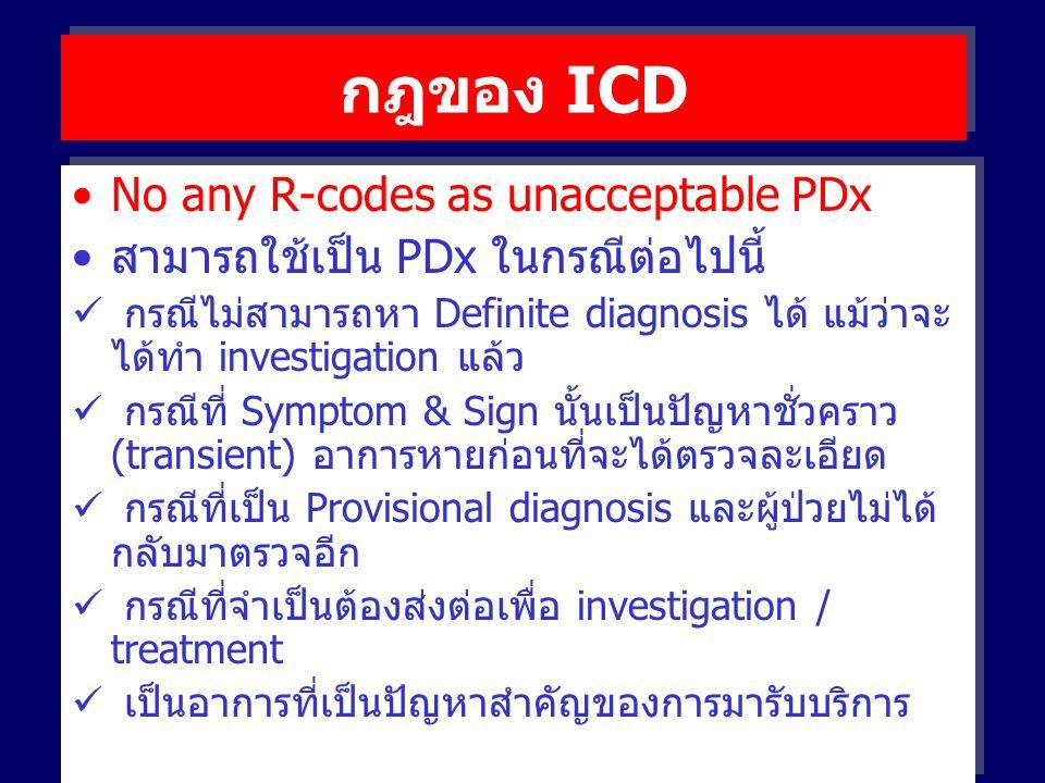 กฎของ ICD No any R-codes as unacceptable PDx