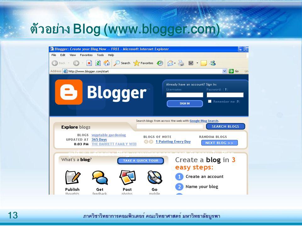 ตัวอย่าง Blog (www.blogger.com)