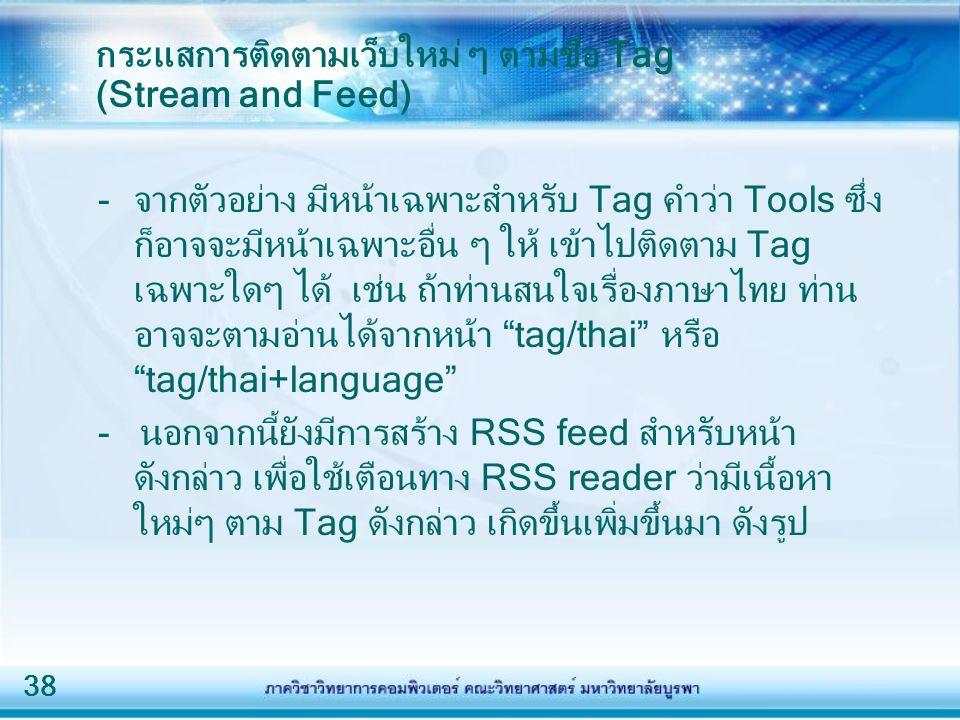 กระแสการติดตามเว็บใหม่ ๆ ตามชื่อ Tag (Stream and Feed)