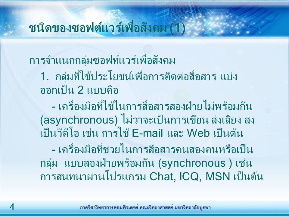 ชนิดของซอฟต์แวร์เพื่อสังคม (1)