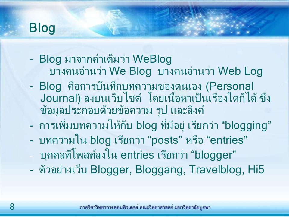 Blog - Blog มาจากคำเต็มว่า WeBlog บางคนอ่านว่า We Blog บางคนอ่านว่า Web Log.