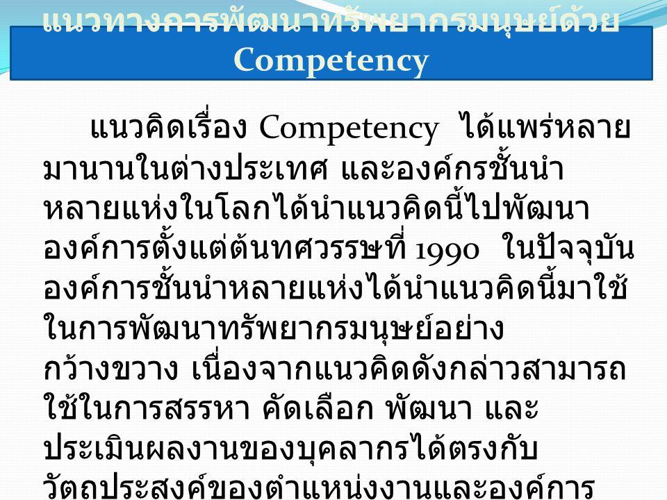 แนวทางการพัฒนาทรัพยากรมนุษย์ด้วย Competency