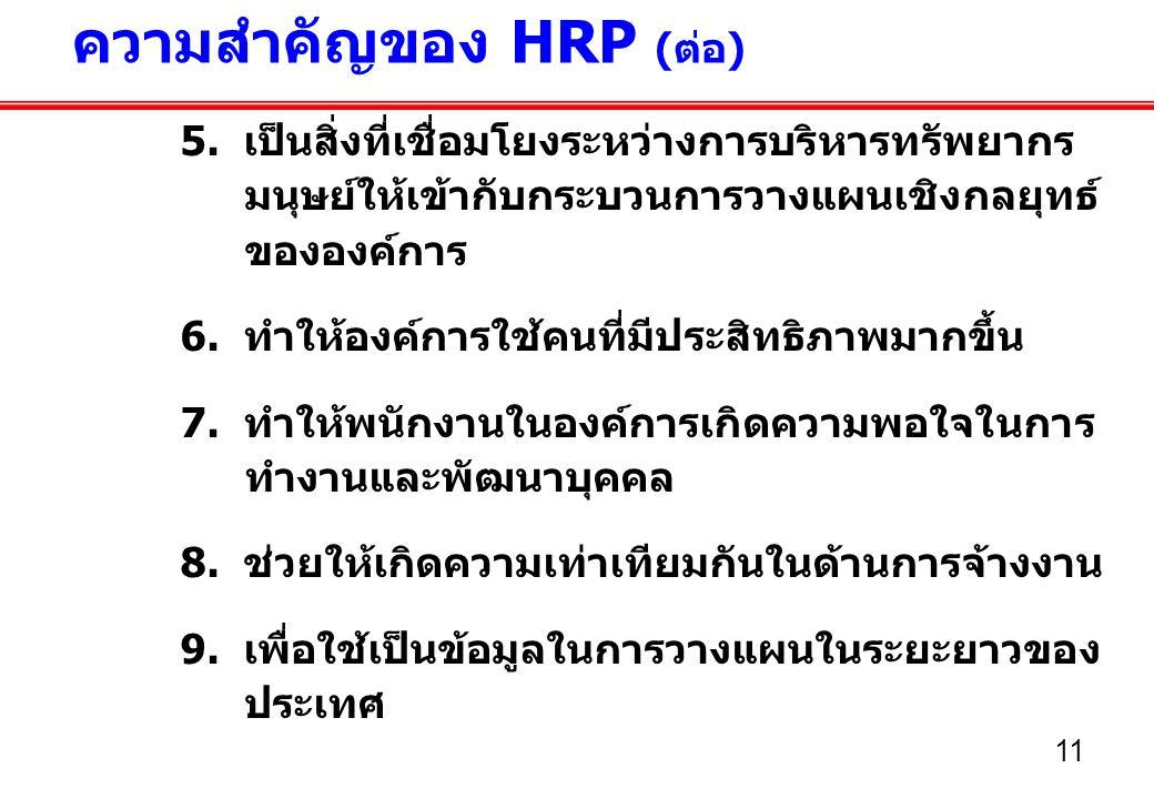 ความสำคัญของ HRP (ต่อ)