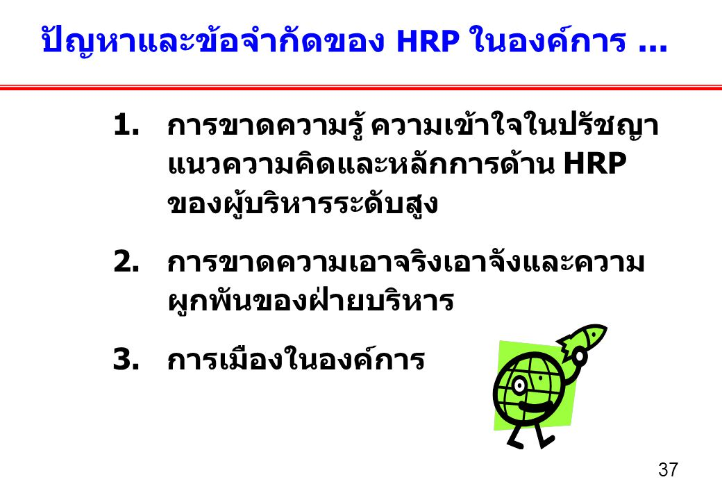 ปัญหาและข้อจำกัดของ HRP ในองค์การ ...
