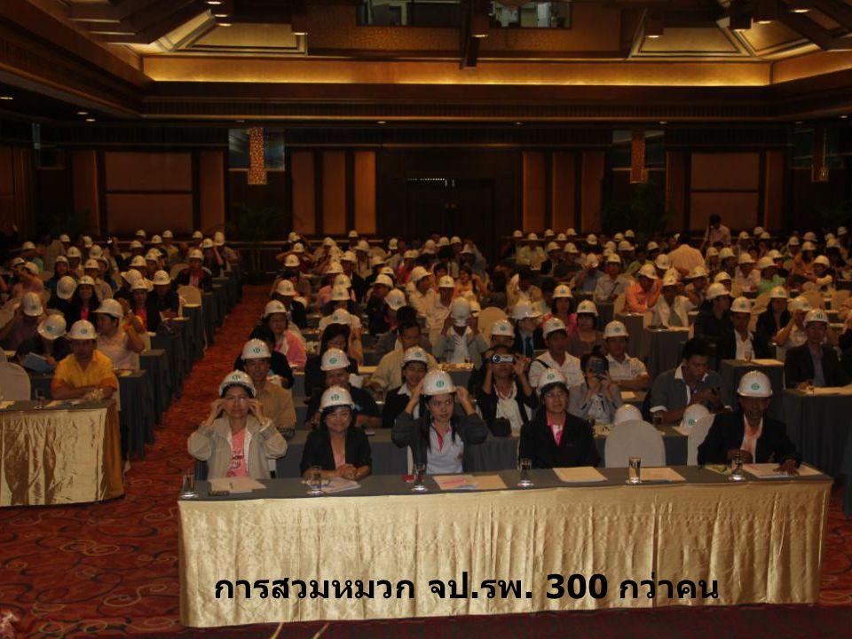 การสวมหมวก จป.รพ. 300 กว่าคน