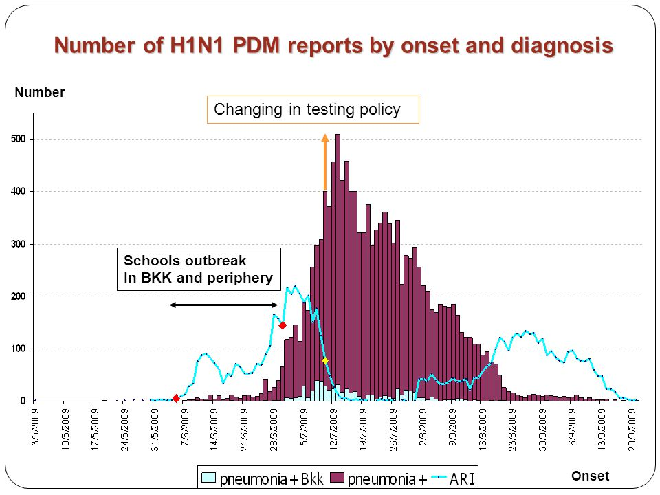 Number of H1N1 PDM reports by onset and diagnosis