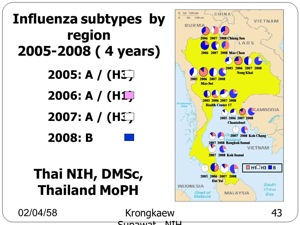Influenza subtypes by region 2005-2008 ( 4 years)