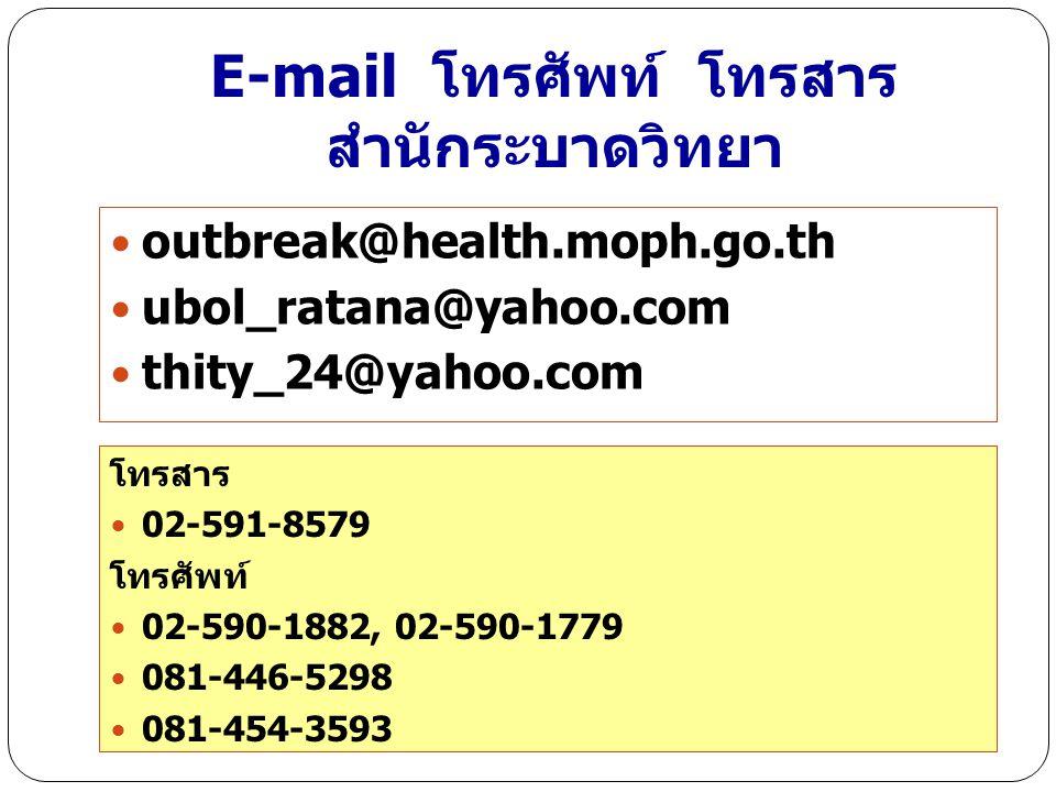 E-mail โทรศัพท์ โทรสาร สำนักระบาดวิทยา