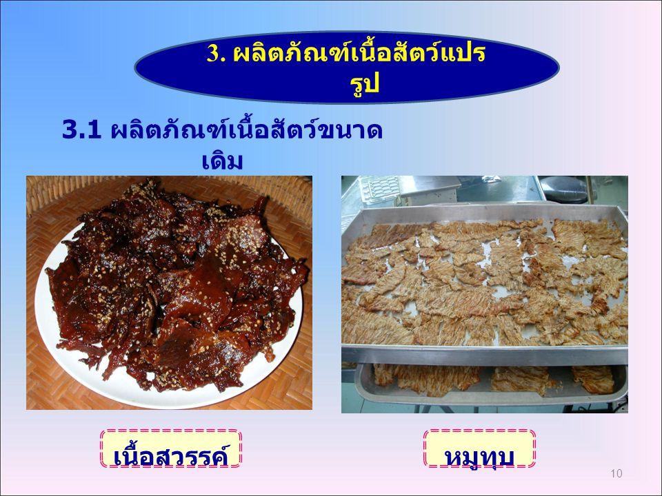 3. ผลิตภัณฑ์เนื้อสัตว์แปรรูป 3.1 ผลิตภัณฑ์เนื้อสัตว์ขนาดเดิม