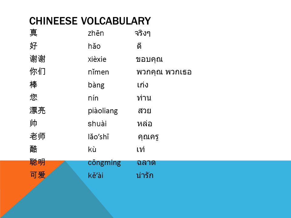CHINEESE VOLCABULARY