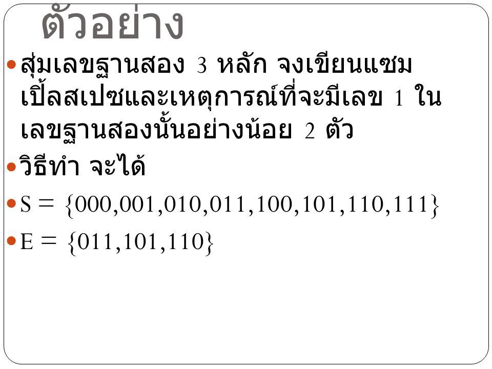 ตัวอย่าง สุ่มเลขฐานสอง 3 หลัก จงเขียนแซมเปิ้ลสเปซและเหตุการณ์ที่ จะมีเลข 1 ในเลขฐานสองนั้นอย่างน้อย 2 ตัว.