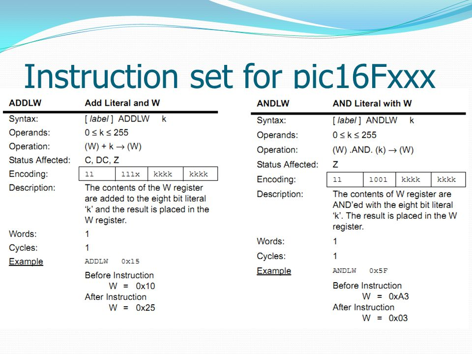 Instruction set for pic16Fxxx