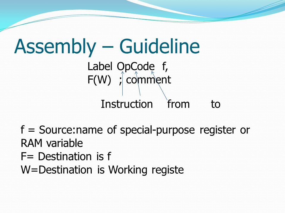 Assembly – Guideline Label OpCode f, F(W) ; comment