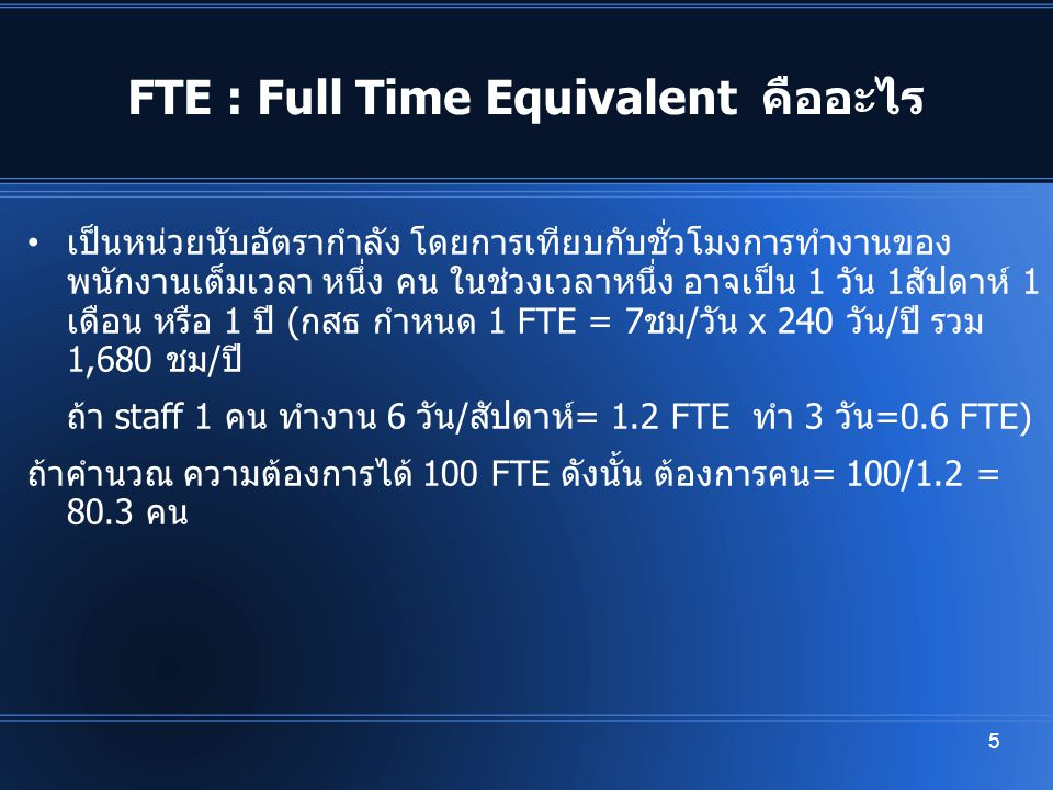 FTE : Full Time Equivalent คืออะไร