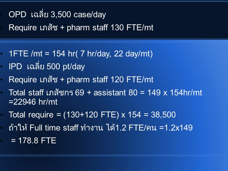 OPD เฉลี่ย 3,500 case/day Require เภสัช + pharm staff 130 FTE/mt. 1FTE /mt = 154 hr( 7 hr/day, 22 day/mt)