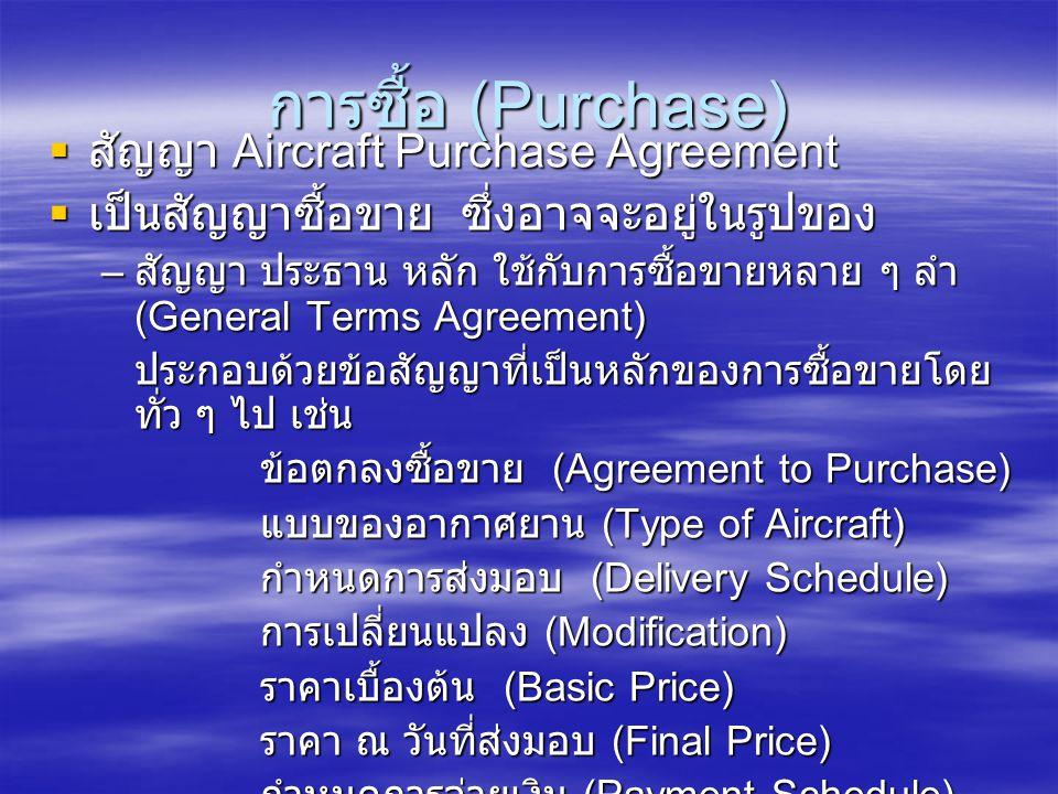 การซื้อ (Purchase) สัญญา Aircraft Purchase Agreement