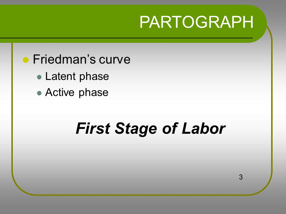 PARTOGRAPH First Stage of Labor Friedman's curve Latent phase