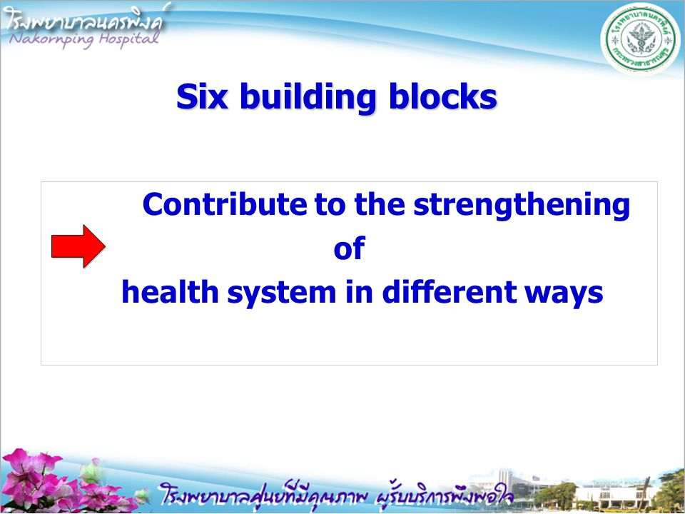 Contribute to the strengthening of health system in different ways