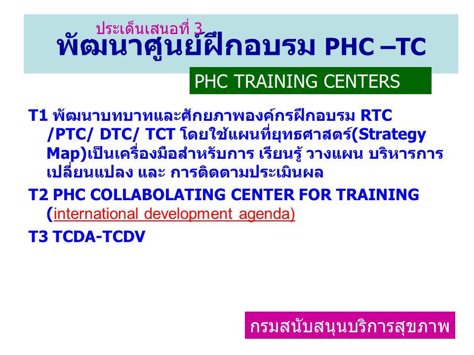 พัฒนาศูนย์ฝึกอบรม PHC –TC