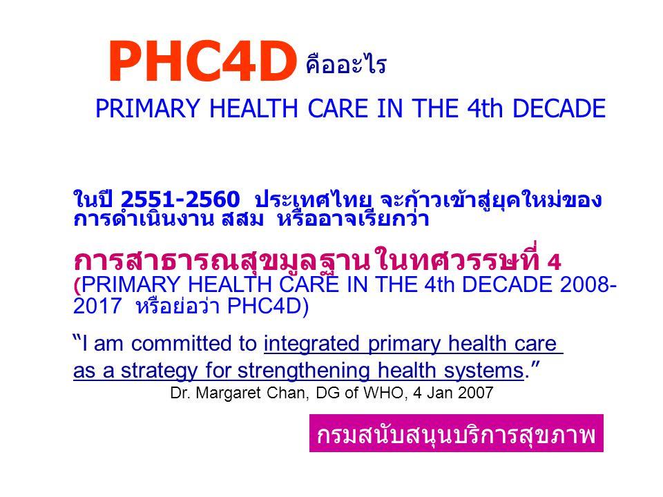 PHC4D คืออะไร. PRIMARY HEALTH CARE IN THE 4th DECADE. ในปี 2551-2560 ประเทศไทย จะก้าวเข้าสู่ยุคใหม่ของการดำเนินงาน สสม หรืออาจเรียกว่า.