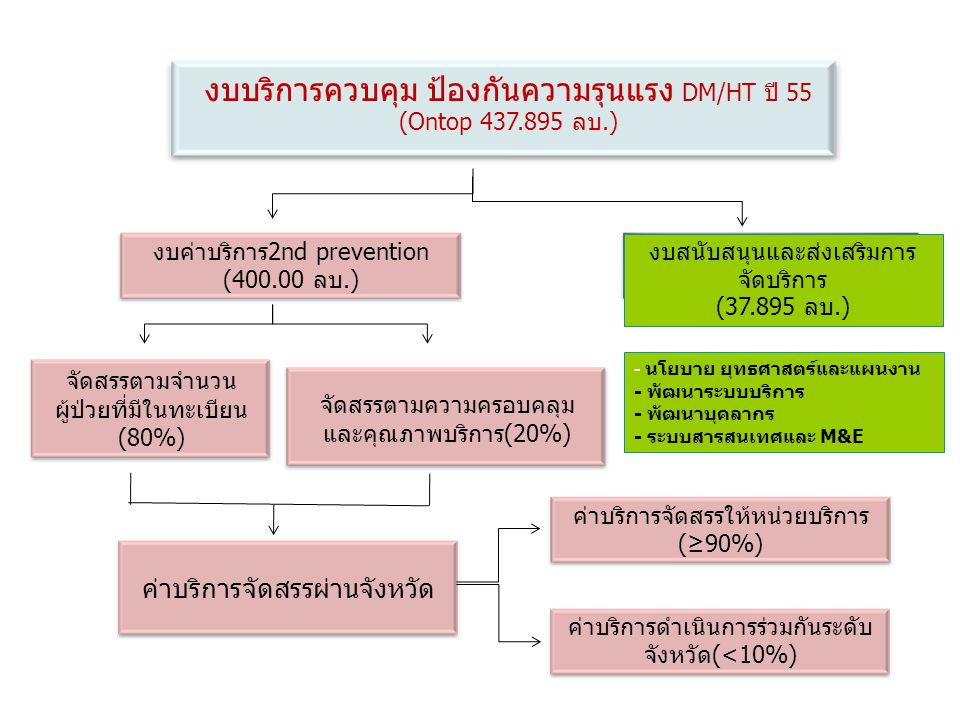 งบบริการควบคุม ป้องกันความรุนแรง DM/HT ปี 55