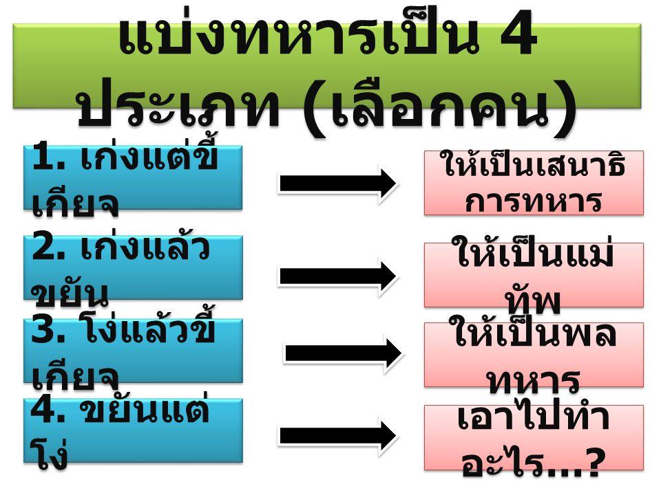 แบ่งทหารเป็น 4 ประเภท (เลือกคน)
