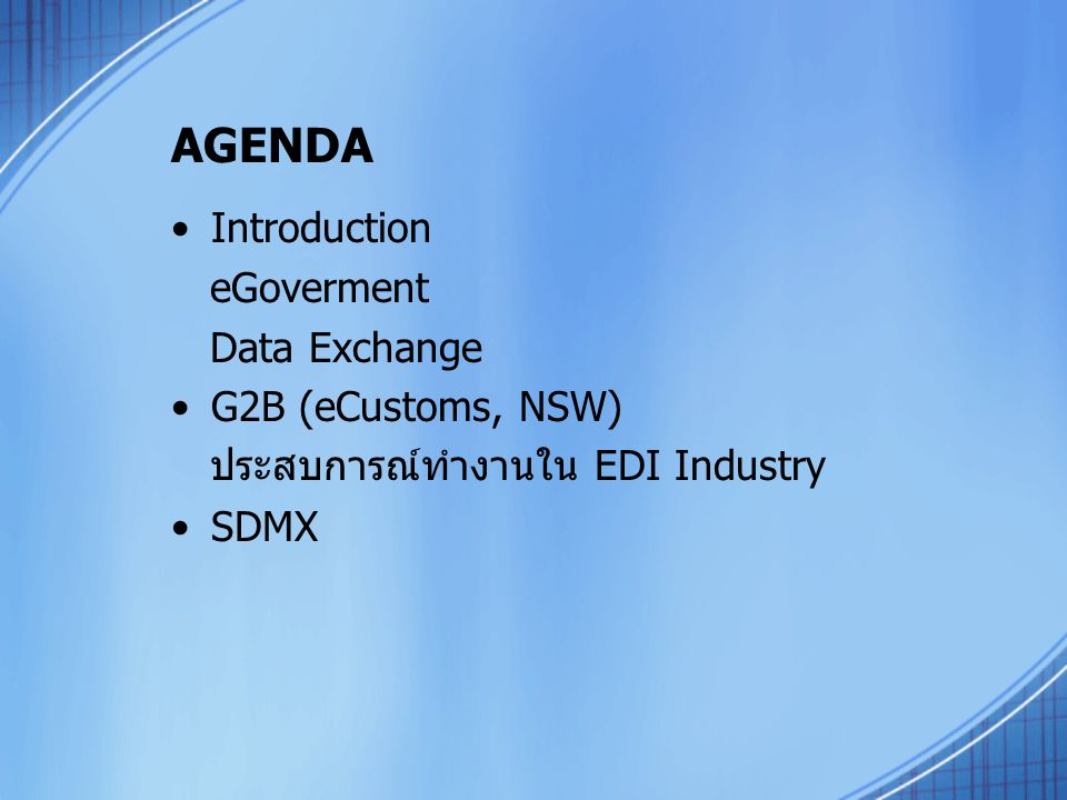AGENDA Introduction eGoverment Data Exchange G2B (eCustoms, NSW)