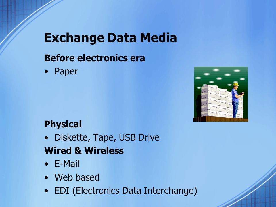 Exchange Data Media Before electronics era Paper Physical