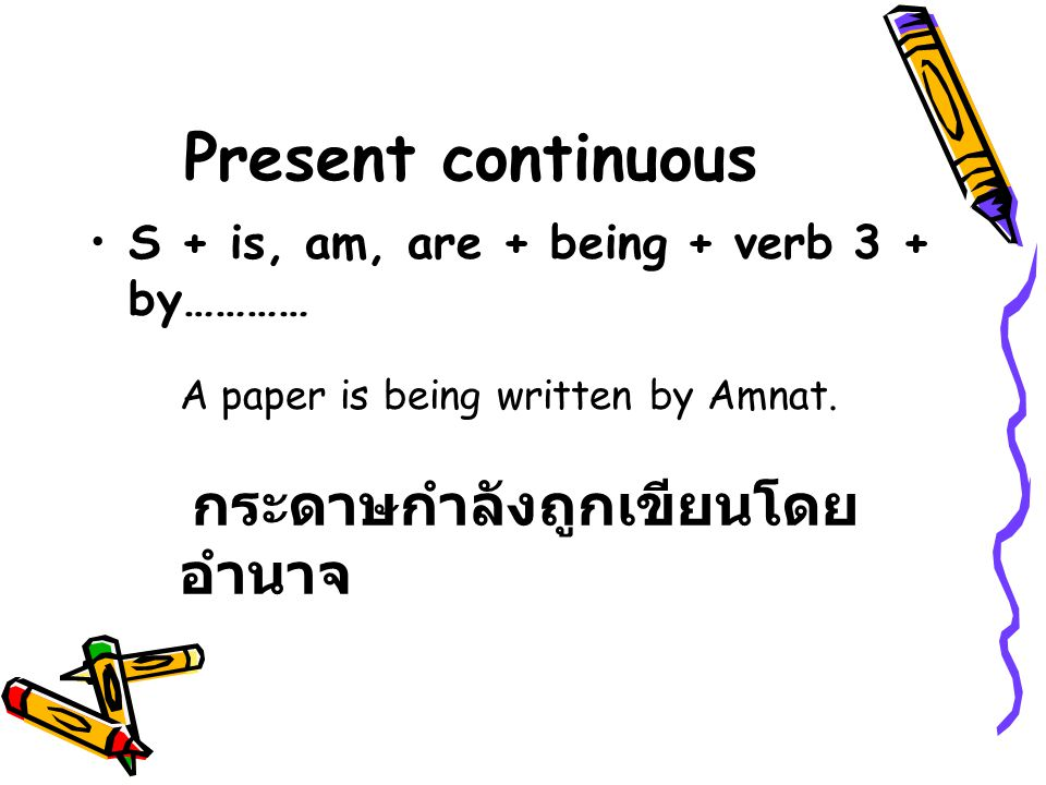 Present continuous S + is, am, are + being + verb 3 + by…………