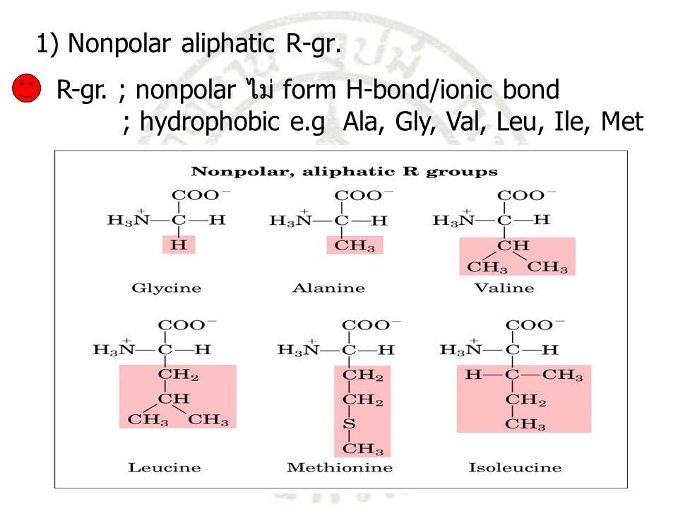 1) Nonpolar aliphatic R-gr.